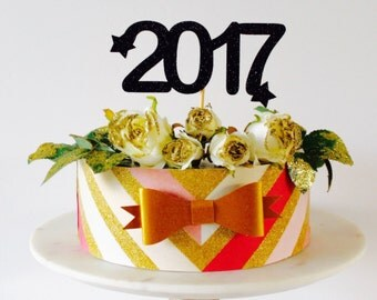 2017 Large glitter cake topper -  new years eve party celebrations. cake decorations cake topper