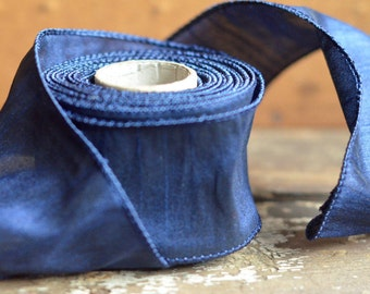 10 yard roll of navy faux silk ribbon