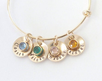 Custom Hand stamped, grandma bracelet,Personalized Name Bracelet,Birthstone Jewelry, Mothers Day, Gift for Mom,Grandma Gift,Nana gift