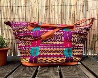 Mexikanische Weekender - große bestickt mexikanischen Volkskunst traditionelle gewebt über Nacht reisen Maya Bluse handgemacht