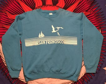 "Vintage 80s Tultex - San Francisco Bay Area ""California Child"" - Teal Blue Graphic Pullover Sweatshirt Jumper – Size L"