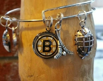 Boston Bruins wire bracelet with 3 charms and 2 image charms  (your choice of image )