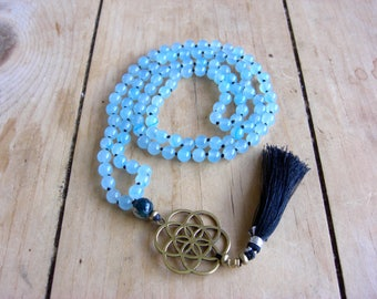 Blue Agate Mala with Moss Agate and Flower of Life