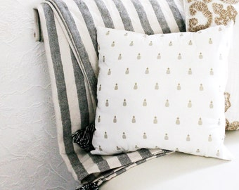 White and Gold Pineapple Pillow