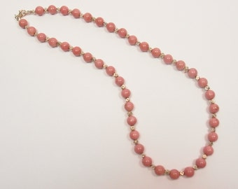 Pink Rhodochrosite and Sterling (925) Silver Necklace