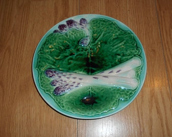 Antique French Majolica ASPARAGUS Plate CREIL&MONTEREAU, Deco, chic