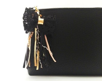 Black leather clutch bag Gift for girl Small cute purse bag Zippered clutch Fashion party clutch Bridesmaid purse Black clutch Leather purse