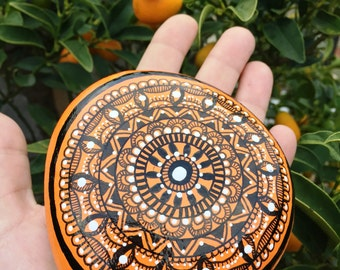 Mandalas painted stones painted hand-painted stones rock paperweight