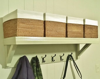Farmhouse Style Coat Rack with 6 Hooks & Extra Wide Shelf  Country Style Coat Rack