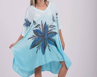 Poncho Handpainted short kaftan,Hippie Viscose Blouse,Beach Sundress,Tunic,Free Size,summer poncho,Beach Cover Up, Beach Wear ,Boho Poncho.