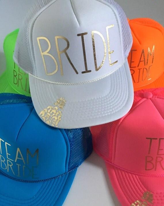5 Team Bride Hat SET| Bride Hat| Bachelorette Hats| Bridesmaid Hats| Bride Tribe 1 White Bride Hat, 4 Assorted Neon Team Bride Hats