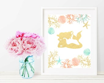 Mermaid Printable Wall Art Print, Gold Foil Aqua Nursery Decor, Coral Seashell Mermaid 8x10 Art Print, Dorm Decor, Home Decor, Girl Nursery