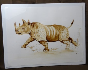 Rhino coffee painting