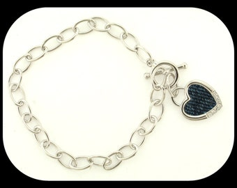 New 925 Sterling Silver Link BRACELET & HEART CHARM w Cubic Zirconia and Fabric