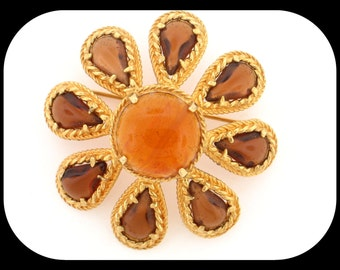 """RARE Vintage Signed DeNicola Marbled Poured Amber & Smoky Glass Dome Flower BROOCH 2"""""""