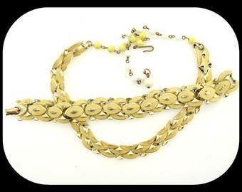 Vintage Signed CORO Demi Parure Set Yellow Enamel Gold Plated NECKLACE BRACELET C1950