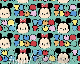 Knit Fabric - Disney Tsum Tsum Mickey & Minnie - Fat Quarter Yard +