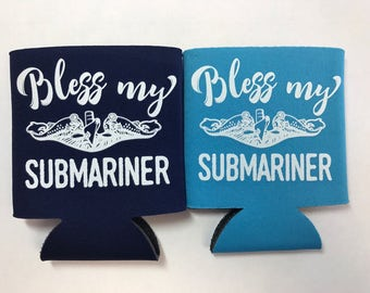 Bless my Submariner, Drink Wrap, Can Holder, Submarine, Dolphins, Naval Fish, Navy Pride, Proud Navy Wife