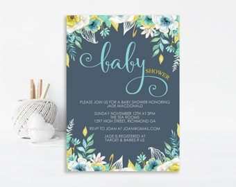 Floral Baby Shower Invitation, Baby Shower Invitation, Boy Baby Shower, Printable Invitation, Personalized Invitation, Floral Watercolour