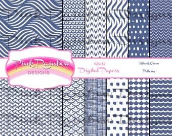 Shark Week Ocean Pattern Digital Pattern Scrapbook Paper | Great White | Hammerhead | Shark Week | Deep Blue Sea | Big Blue | Summer | Water