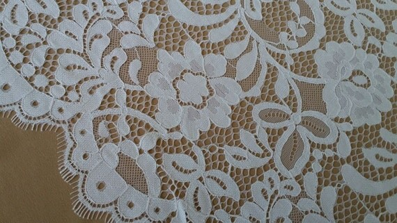 White lace fabric, French lace, lace Bridal lace Wedding lace White lace Veil lace Scalloped Floral lace Lingerie