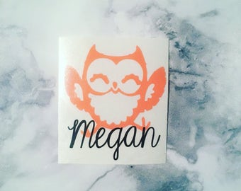 Owl Decal, Owl Monogram, Owl Name Decal, Owl Vinyl Decal