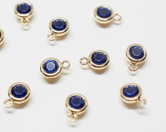 P0622/Anti-Tarnished Gold Plating Over Brass +CZ/September Sapphire Birthstone Charm Pendant/4.2mm x 6mm (including a loop), 3mm CZ/2pcs