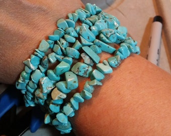 Turquoise Chip Bead Stretch Bracelets