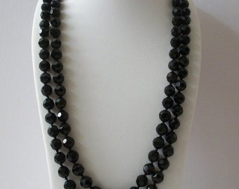 ON SALE Retro Sparkling Black Czech Glass Beads Single Strand 74 Inches Long Heavier Necklace 112016