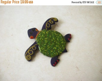 ON SALE Vintage Fimo Clay Polymer Hand Made Little Flexible Over Sized Turtle Pin 32517