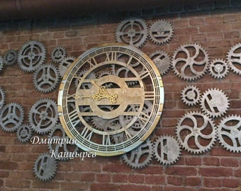 Superieur Huge Large Wall Clock With Rotating Gears, Steampunk, Metal, Original,  Fashion