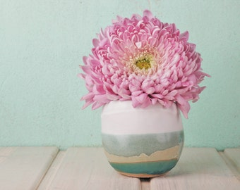 Small round vase in mint, turquoise and white - Mediterranean design - housewarming gift