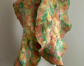 Nuno Felted Scarf   Nuno Felted Wrap  Wool Felted Scarf   Wool Silk Felting  Nuno Felted Scarf  Wool Accessories
