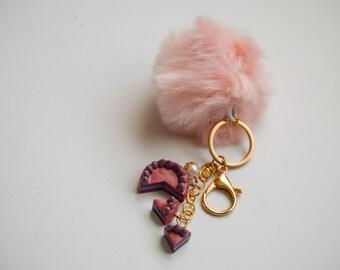 Pom Pom Keychain Light Pink W/ Dusty Rose Cake | Kawaii Lolita Cute Accessory Keyring | Polymer Clay Sculpture