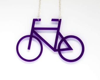 Bicycle Pendant on Silver Plated Chain Necklace. Cycling Singlespeed Fixie