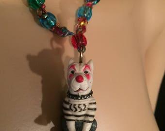 Rainbow clown pitbull necklace punk rock goth