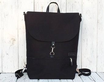 Solid Black Backpack, Large Waterproof Backpack, Minimalist Bag