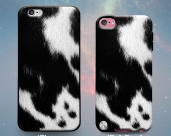 Cow Spots Skin Cowboy Country Rubber (Not actual fur) Case for iPhone 7 Plus iPhone 7 iPhone 6s 6 Plus iPhone 5s 5 5c iPhone SE iPod Touch