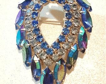 Vintage Arora Borealis Blue pin Brooch Sarah Coventry