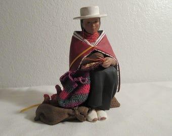 Vintage Ceramic/Cloth Native American Woman Figurine
