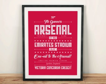 Arsenal print; Typographic football team poster