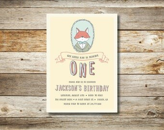 Little Fox Baby's First Birthday DIY Printable Invitation