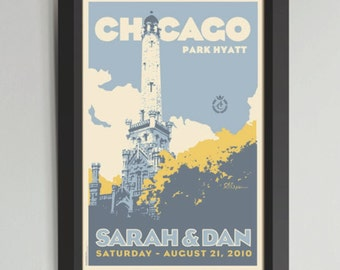Chicago Water Tower Personalized Framed Wedding Art (Large)