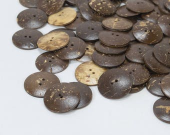 "50 x Coconut Buttons - 25mm / 1"" Large Wood Buttons, Coco Buttons, Handmade Natural Coconut Shell Buttons, Eco Friendly Carved Inch Buttons"
