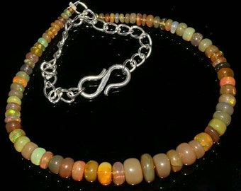 18 Carat Natural Ethiopian Welo Fire Opal Bracelet 2mm-7mm Rondelle Beads Sterling Silver Rondelle Beaded Jewelry (ID OH-395)
