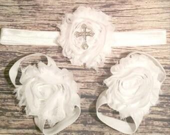 White Baptism Headband and Barefoot Sandals / Rhinestone Cross Headband / Christening / Barefoot Sandals / Baby Headband / Toddler Headband