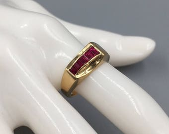 Tiffany & Co 14K Natural Ruby Ring - Vintage 1940s Retro Alternative Engagement Ring, 40th Anniversary, July Birthstone, Engraved RNG3106