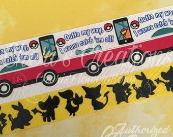 "7/8"" Pokemon Inspired - Gotta Catch 'Em All - PokeMonsters - Black Foil Print - U.S. DESIGNER - High Quality Grosgrain Ribbon - By The Yard"