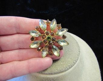 Vintage Goldtone Green & Brown Rhinestone Floral Pin