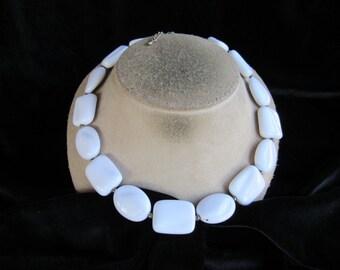 Vintage Chunky White Flat Beaded Necklace